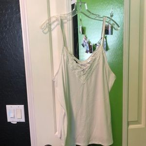 Whit lace up tank top